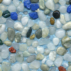 New Zealand Blue : Translucent White Pebbles Are Accented With Royal Blue,  Teal, Red
