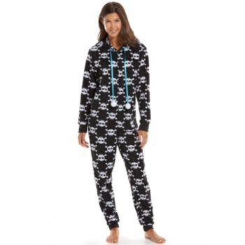 Skeleton Hooded Microfleece One-Piece Pajamas - Juniors