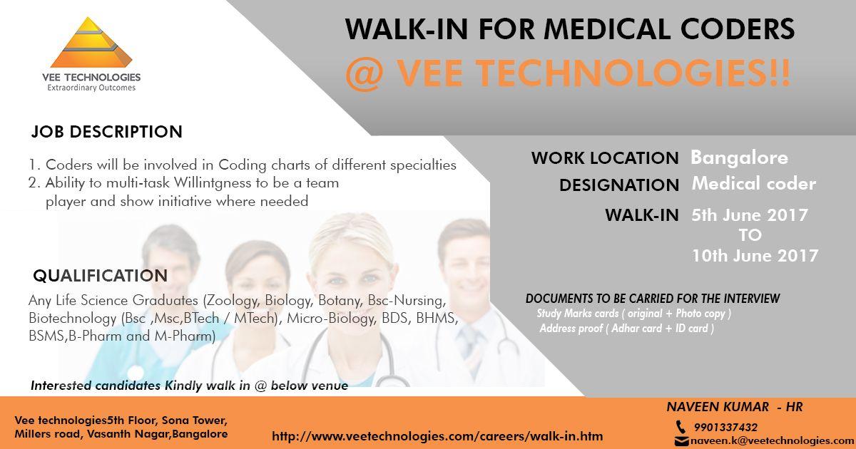 Walkin For Medical Coders Vee Technologies Walk in