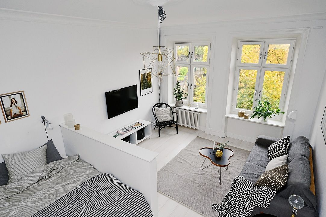 Minimalist aesthetics interior design scandinavian for One room studio apartment