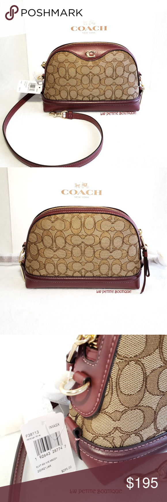 Coach Signature Ivie Crossbody Signature jacquard and refined calf leather  Inside multifunction pocket Zip closure, fabric lining Detachable strap  with 21 ... 255a8b8578