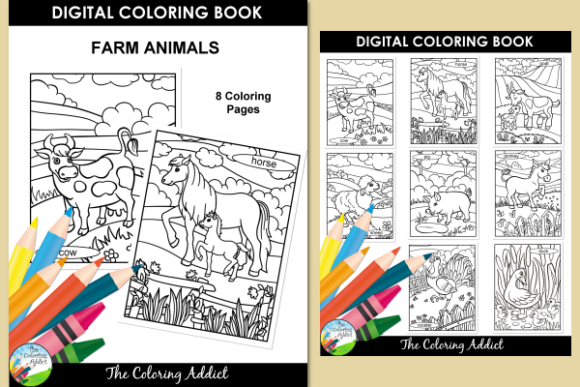 Farm Animals Coloring Book Graphic By Aisne Creative Fabrica Coloring Books Animal Coloring Books Farm Animal Coloring Pages