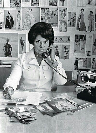 Eunice Johnson in her office at Johnson Publishing Company, 1970
