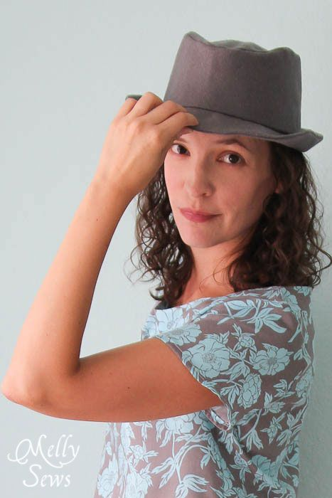 53689cf684f Tips for how to shape a wool hat - How to Sew a Fedora Hat - Elegance and  Elephants Pattern - Melly Sews