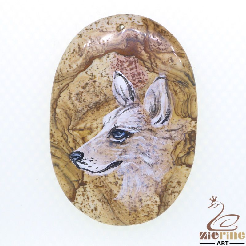Jewelry necklace Hand Painted Wolf Natural Gemstone pendant ZL803488 #ZL #Pendant