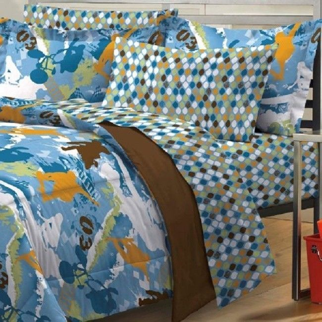 Extreme Sports Skateboarding Dirt Bike Blue Teen Boys Bedding Comforter Set  Twin #MyRoom