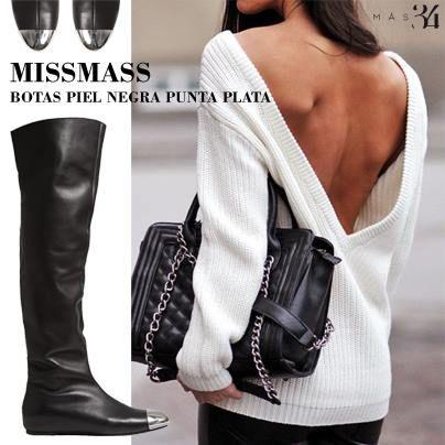 Botas MissMass piel negra y punta plata MAS34 http://www.mas34shop.com/tienda/bota-missmass-piel-negra-y-punta-plata/