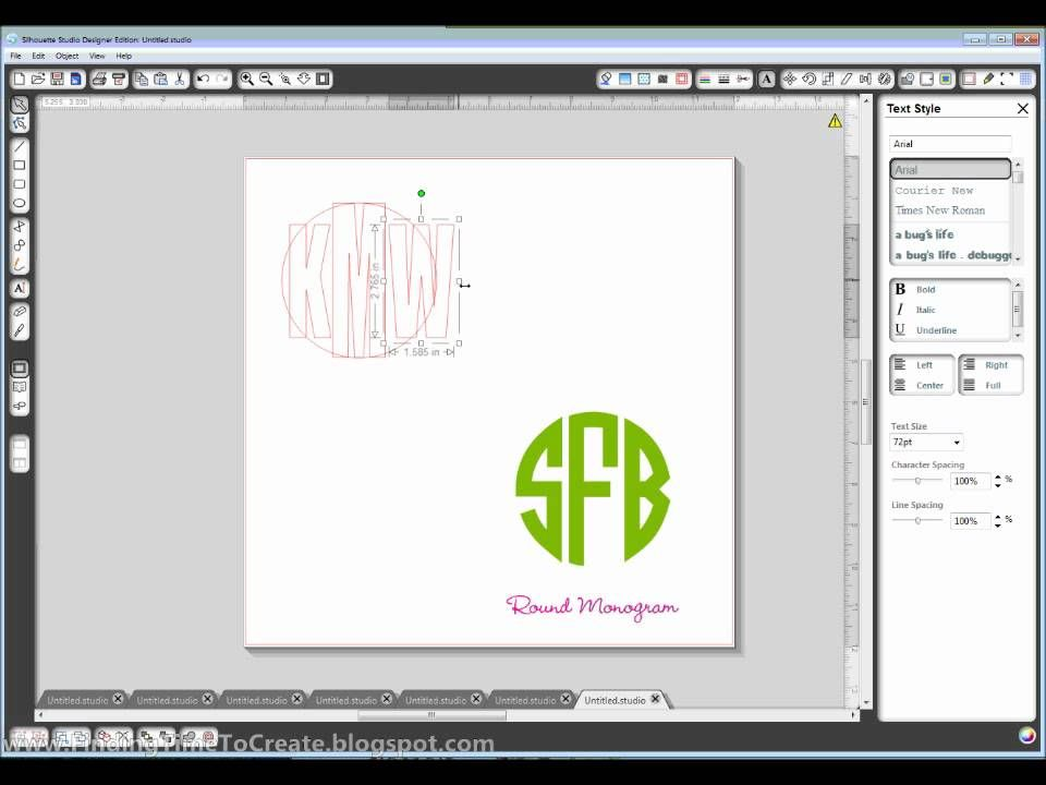 creating circle monogram - (good tutorial on how to crop \ move - how to make a chart in word