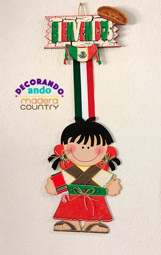 Colgante de mexicanita en madera country ideal para for Puertas decoradas para el 16 de septiembre