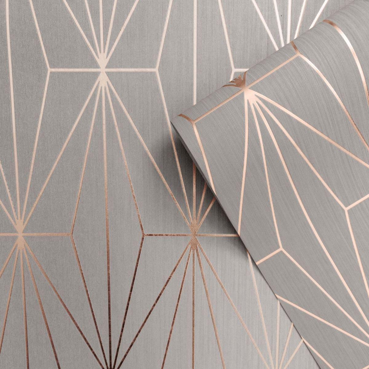 Kayla Metallic Geometric Wallpaper Grey / Rose Gold Muriva