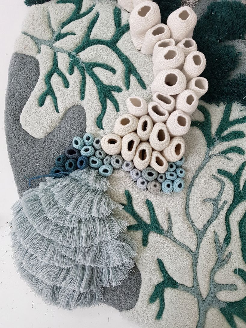 vanessa barragão upcycles industrial textile waste with the ocean tapestry #textiledesign