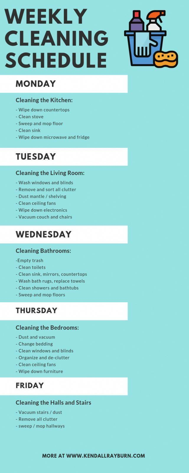 Weekly Cleaning Schedule #healthyhome #healthyhabits #cleaning #DIYhomedecor