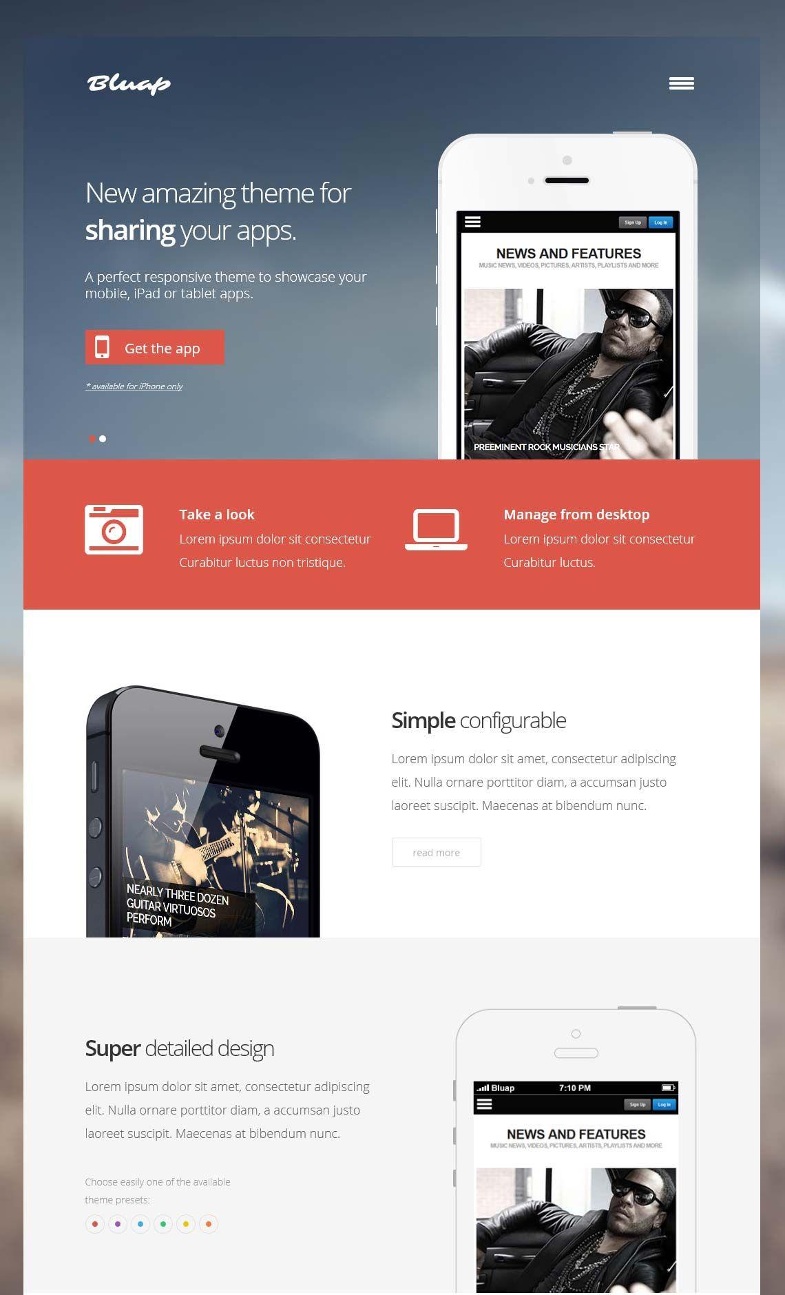 Bluap - Responsive mobile app WordPress Theme | Apps | Pinterest ...