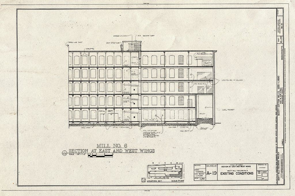 Historic Pictoric Blueprint Mill No 6 Section at East and West Wings Existing Conditions Boott Cotton Mills John Street at Merrimack River Lowell Middle County MA