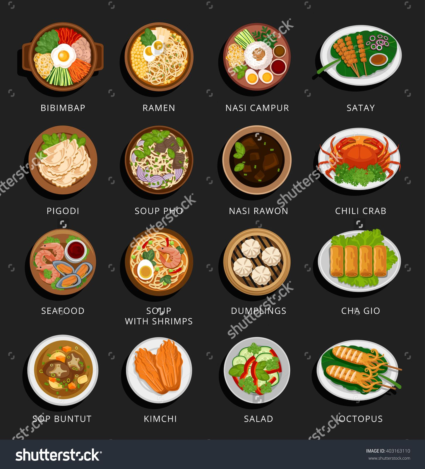 Big Set Of Asian Food Vietnamese Korean Indonesian Chinese And Japanese Cuisine Various Food Dishes Vector Flat Illust Asian Recipes Indonesian Food Food
