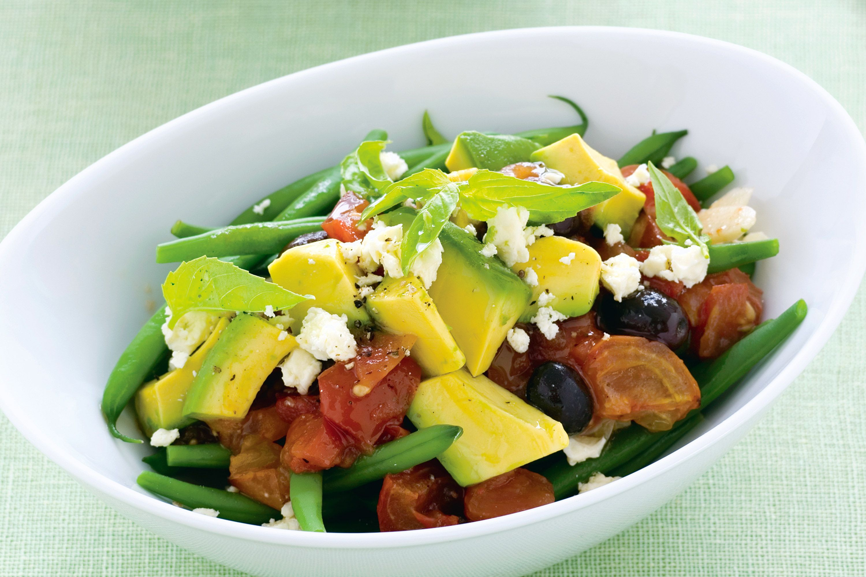 Here's a salad bursting with Spring-fresh flavour thanks to avocado, olives and tomato.