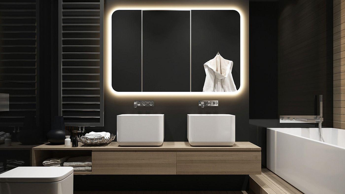 Peinture Noir Mat Dans La Salle De Bain Miroir Lumineux Meuble