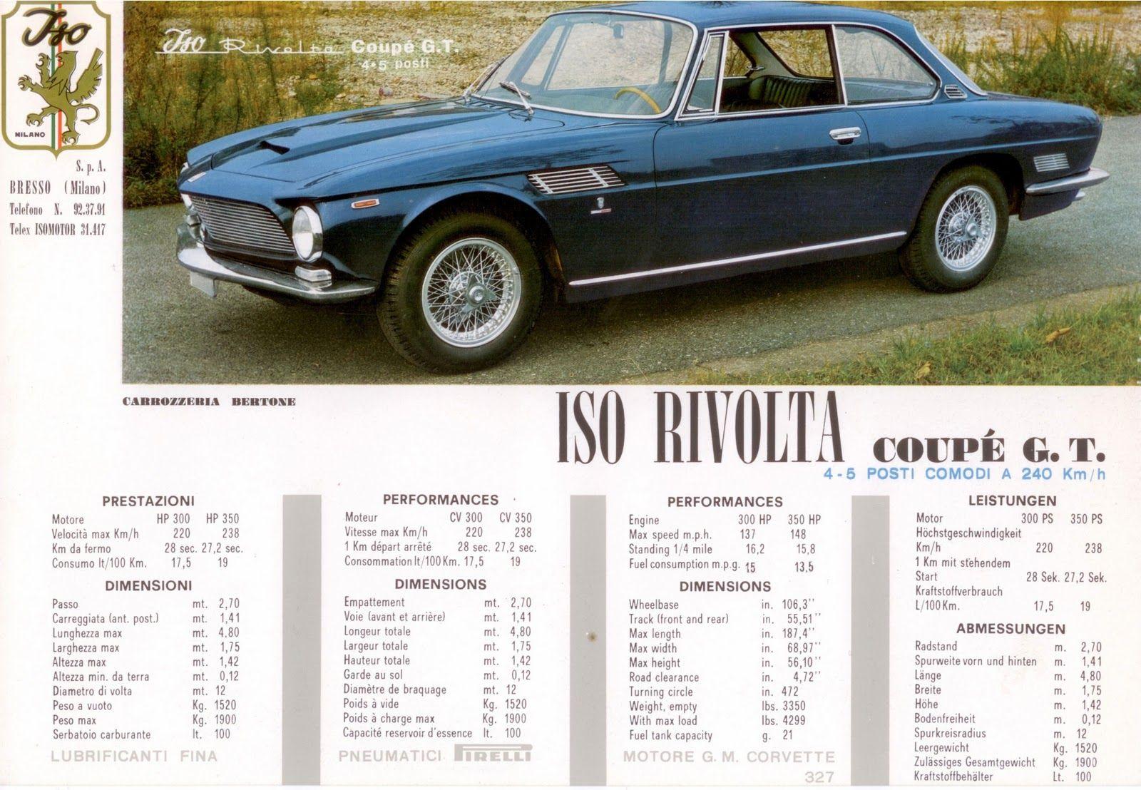 Iso Rivolta Coupe GT   Automobile Ads & Artwork   Pinterest   Cars