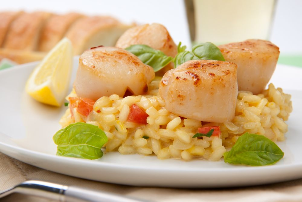 Pressure Cooker Risotto With Pan Seared Scallops Recipe Scallops Seared Cooking Seafood