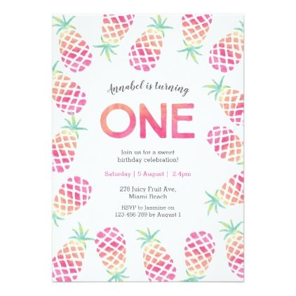 Pink Pinapple Tropical Birthday Invitation