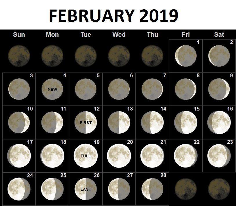 February Calendar 2019 With Moon Phases Full Moon Calendar February 2019 | February 2019 Calendar | Moon
