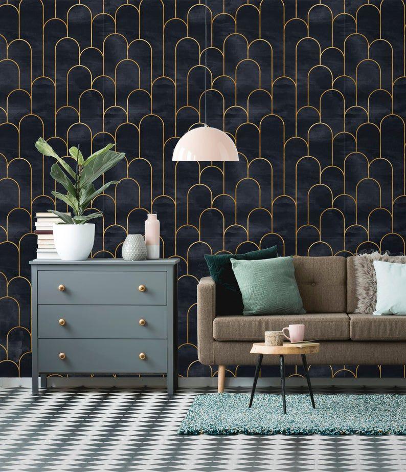 Verwisselbare Wallpaper  Schil en stok geometrische Wallpaper | Etsy