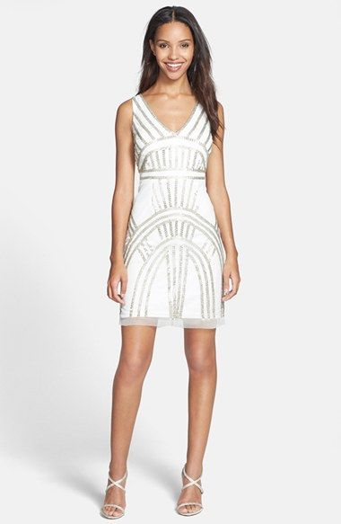 White And Silver Sequin Dress