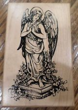 Psx G-3155 G3155 Garden Angel Statue On Pedestal Praying Wooden Rubber Stamp