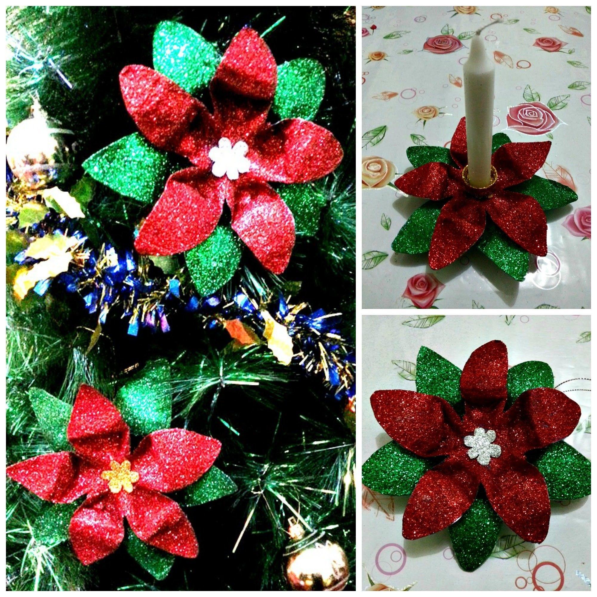 Diy 19 Poinsettia 2 In 1 Made Of Plastic Bottle Bottle Crafts Plastic Bottle Crafts Christmas Crafts