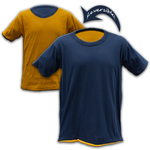 Navy Blue Tshirt and Yellow Gold Tshirt sewn together to create the