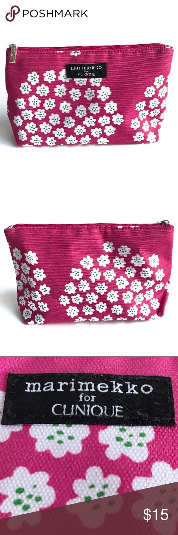 Marimekko X Clinique Pink Floral Makeup Bag Pouch Marimekko For