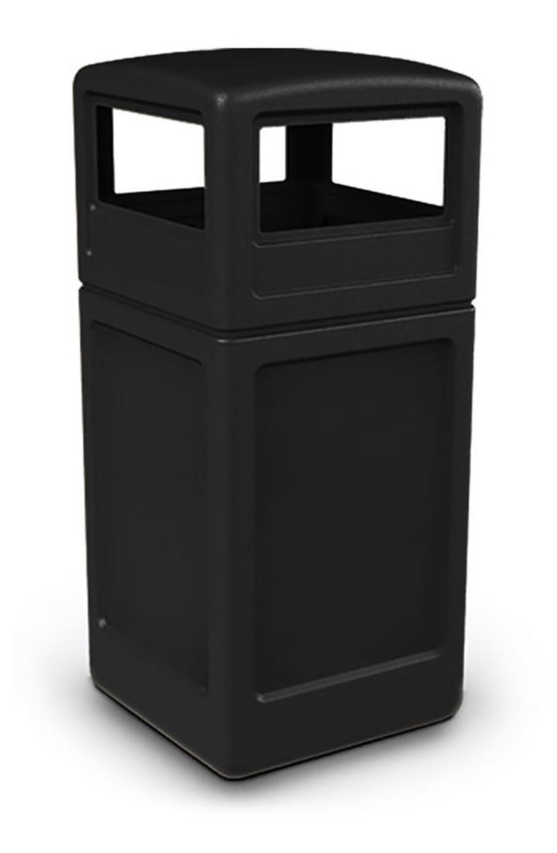 42 Gallon Outdoor Trash Can W Lid Square Black Outdoor Trash Cans Trash Can Trash Containers