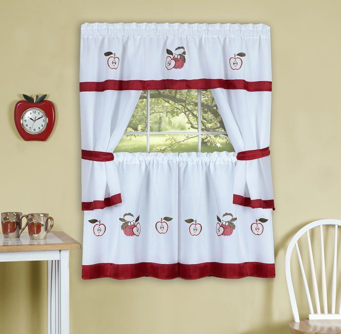 Gala Embroidered Apples COMPLETE KITCHEN CURTAIN SET  WINDOW CURTAIN FRUITS
