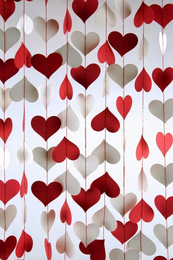 Make a gorgeous curtain of red + white paper heart garlands for a ...