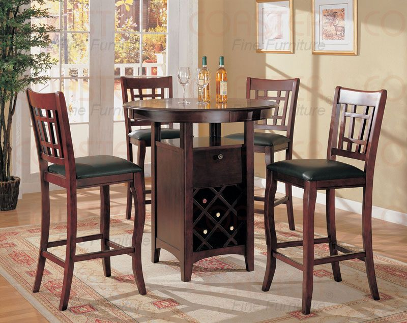 cherry bar table with wine bottle rack