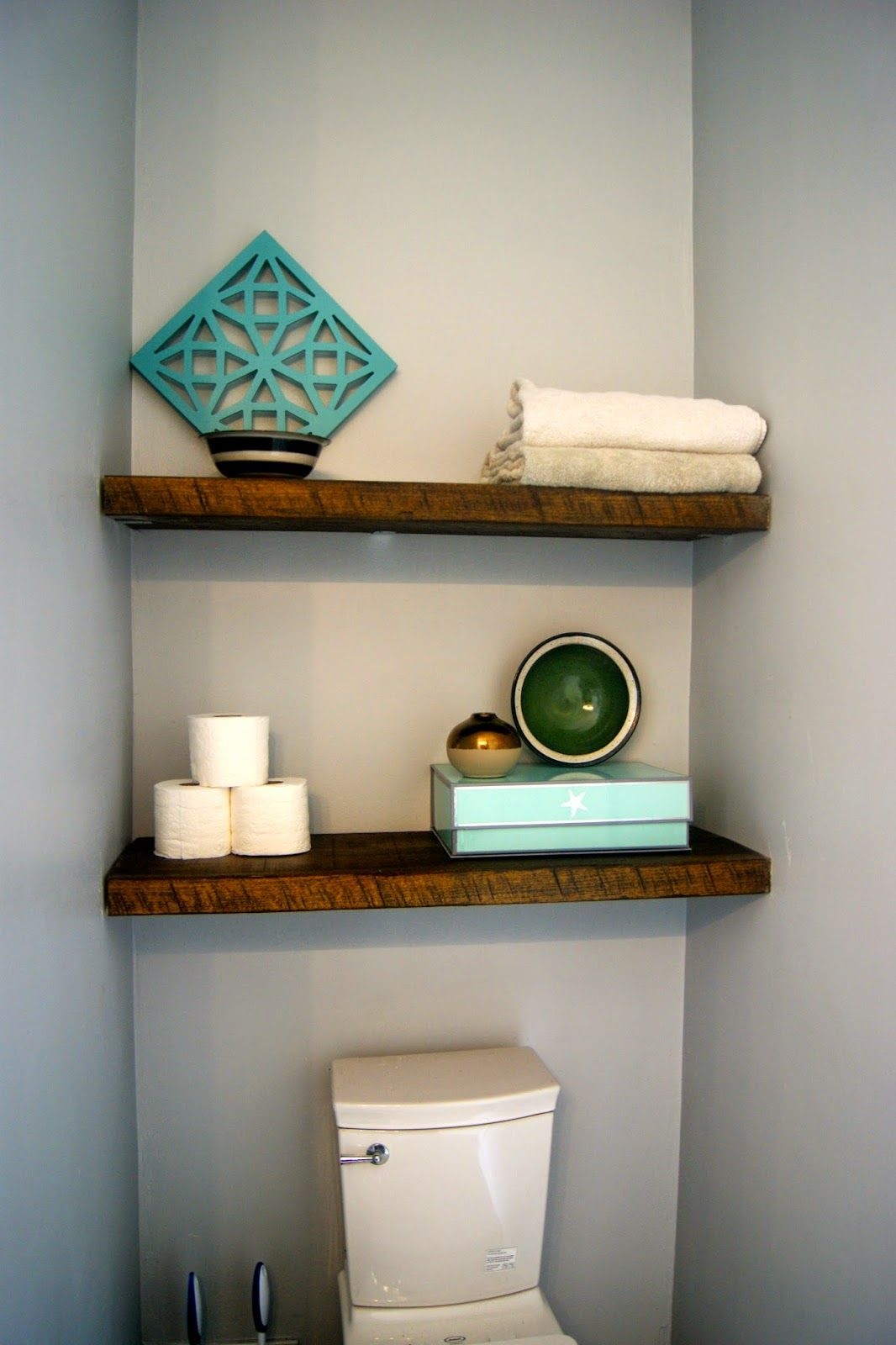 Floating Shelves Above The Toilet Use Small L Brackets