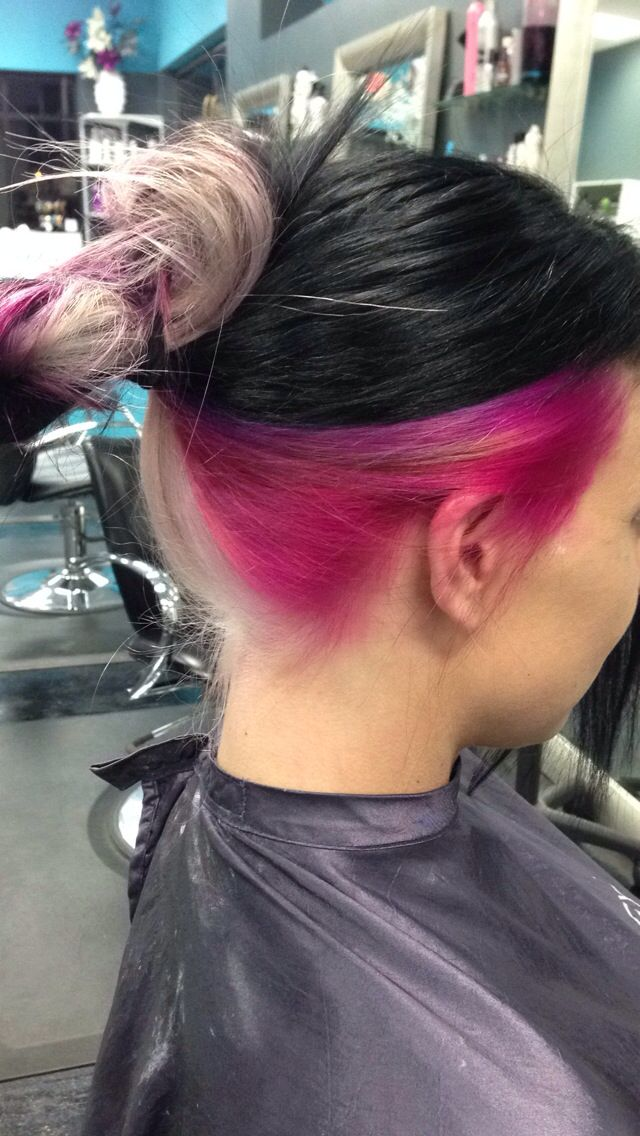 Top Black Middle Hot Pink And Bottom Blonde Two Color Hair Half And Half Hair Pink Hair
