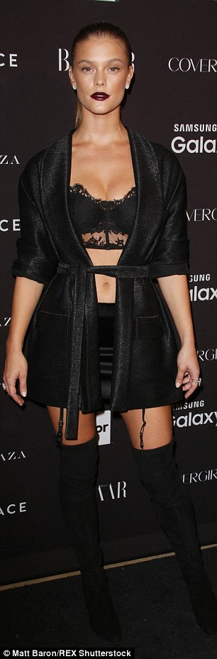 Racy: Nina Agdal ditched the glam gown in favour of a lingerie-inspired look whileDoutzen Kroes showed plenty of skin in her statement mini