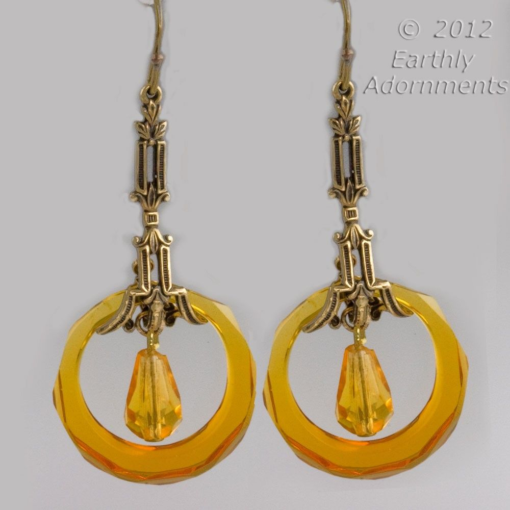 erbg838-Art Deco style earrings  with vintage faceted amber Czech glass rings