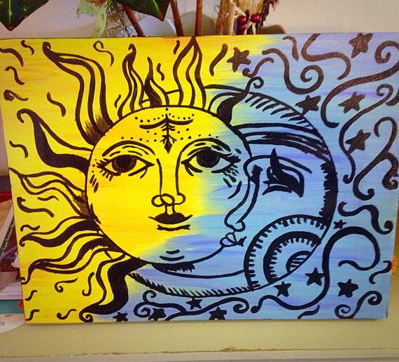 Sun and Moon Canvas | Lynsey's Attic | Art, Moon painting ...