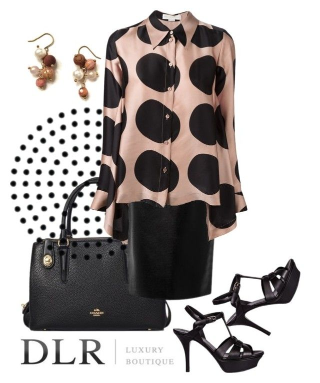 """DLRboutique.com"" by jillsjoyagol ❤ liked on Polyvore featuring Coach, STELLA McCARTNEY, Yves Saint Laurent, PolkaDots and agiftoflaughterjewelry"