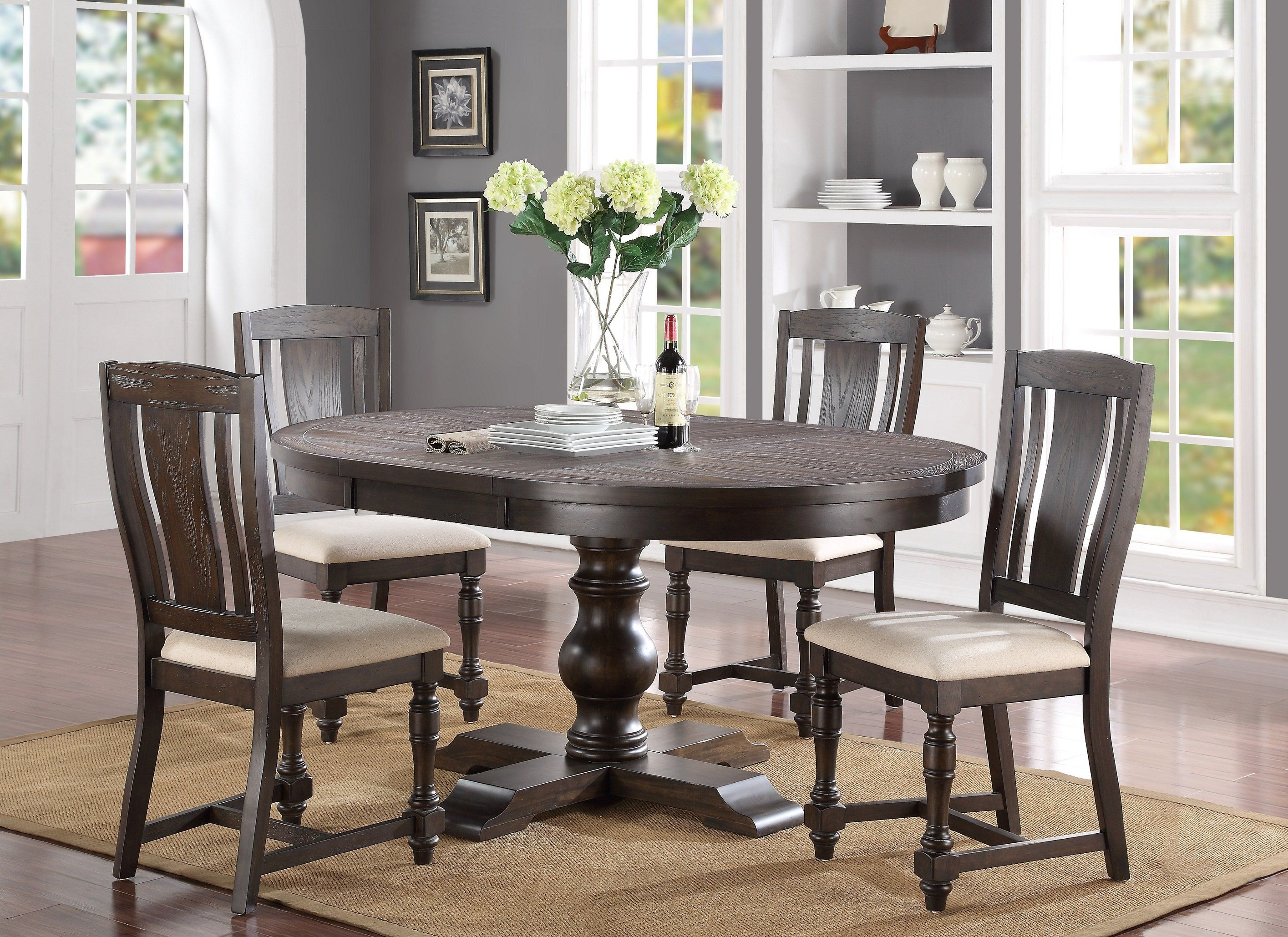 Espresso Brown Round Dining Table - Xcalibur  Dining table