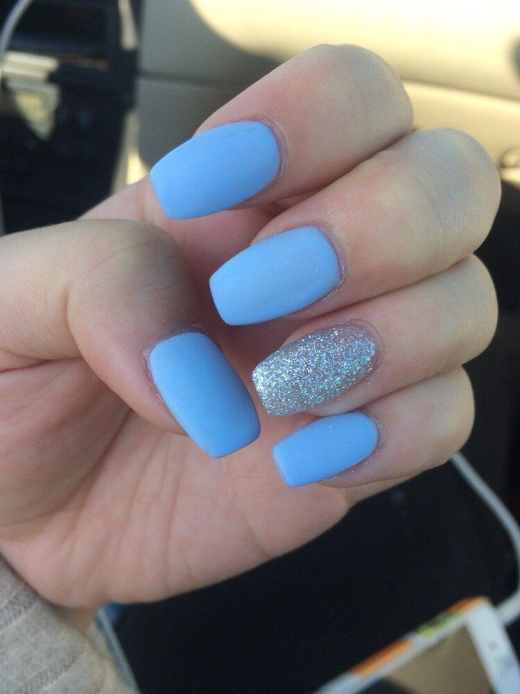 Matte Baby Blue Nails Blue Glitter Nails Blue Nail Designs Trendy Nails