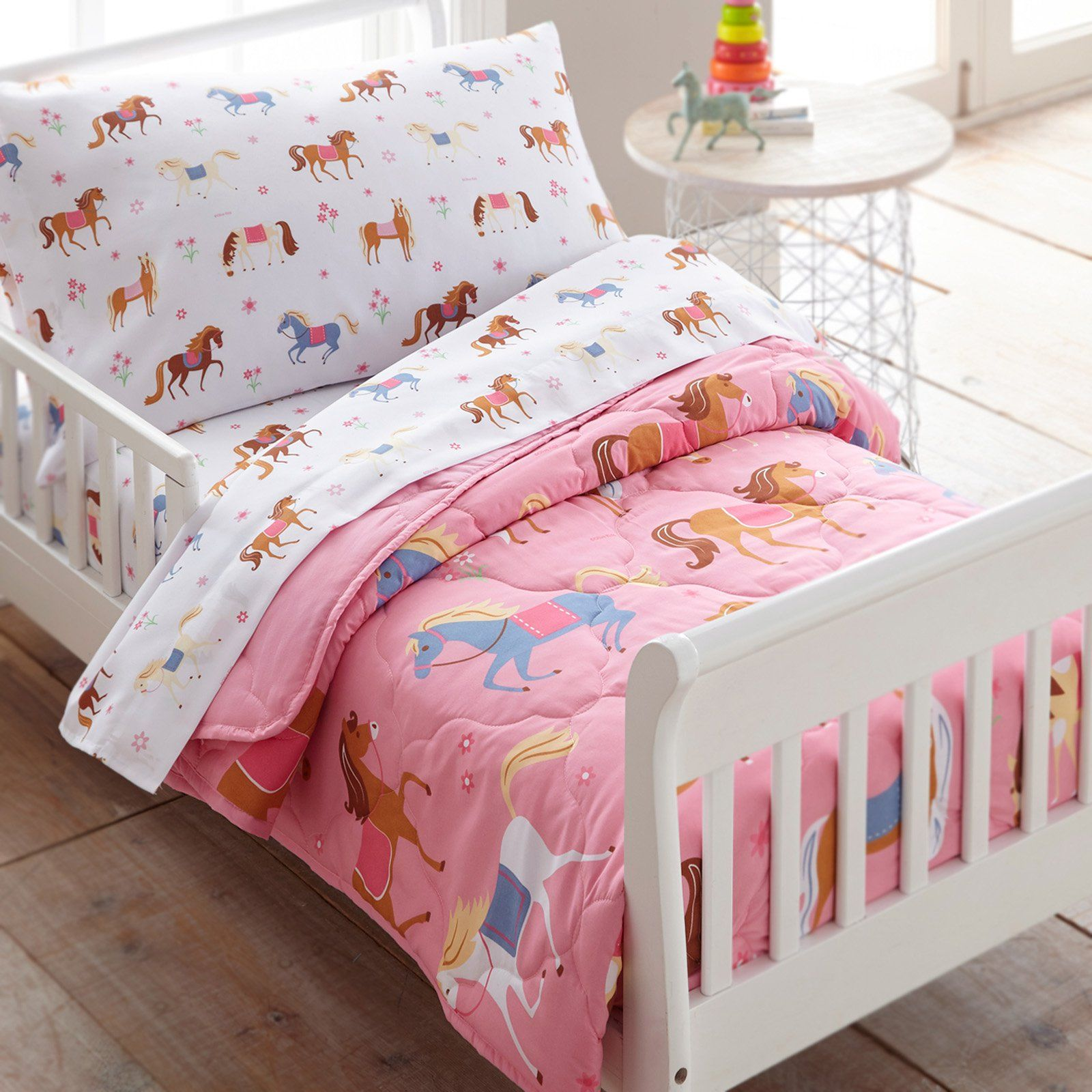 Horses 4 Piece Toddler Bed In A Bag By Olive Kids Toddler Bed Set Toddler Bed Toddler Sheets