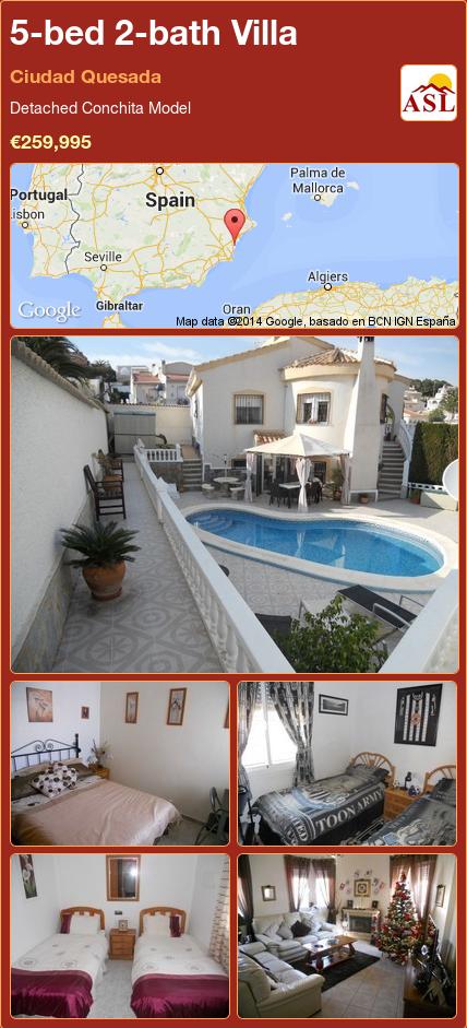 5-bed 2-bath Villa in Ciudad Quesada ►€259,995 #PropertyForSaleInSpain
