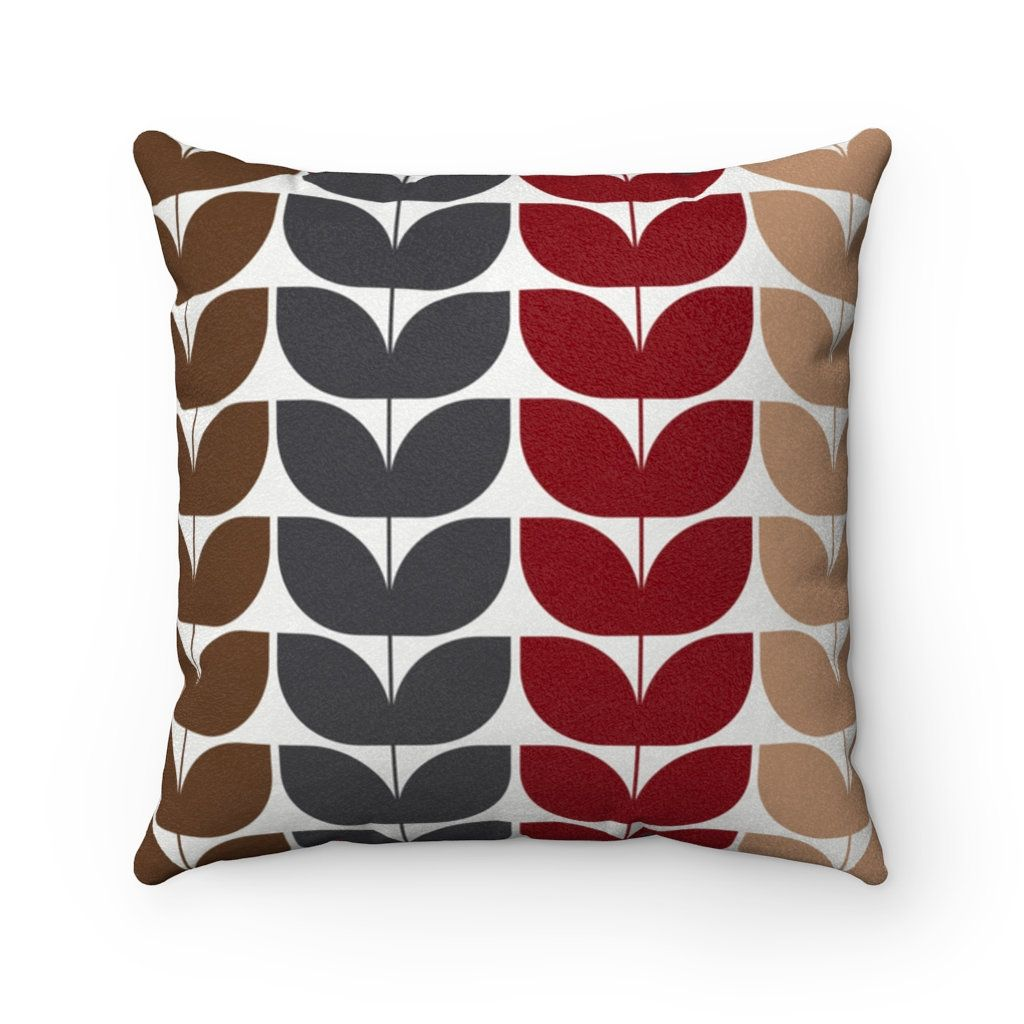 Gray Red Brown Beige Throw Pillow Cover Mid Century Modern Etsy In 2020 Beige Throw Pillows Beige Throws Throw Pillows