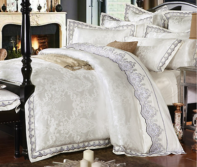 King Queen Size White Jacquard Luxury Boho Lace Satin Duvet Cover Bedding Set Bed Linens Luxury Luxury Bedding Luxury Bedding Set