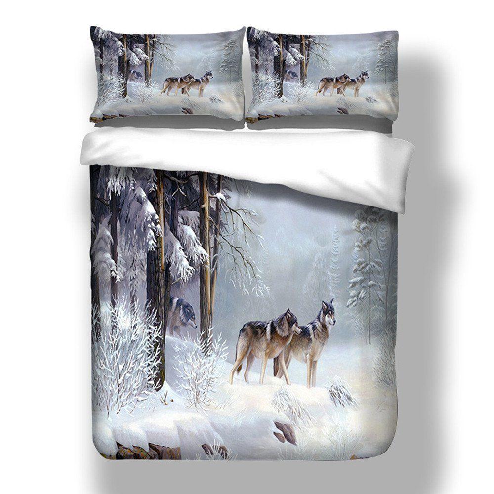 Bettbezug Set Mit Kissenbezüge 3d Tier Tiger Wolf Drucken