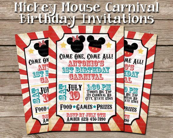 Mickey Minnie Mouse Carnival Birthday Invitation Circus Vintage
