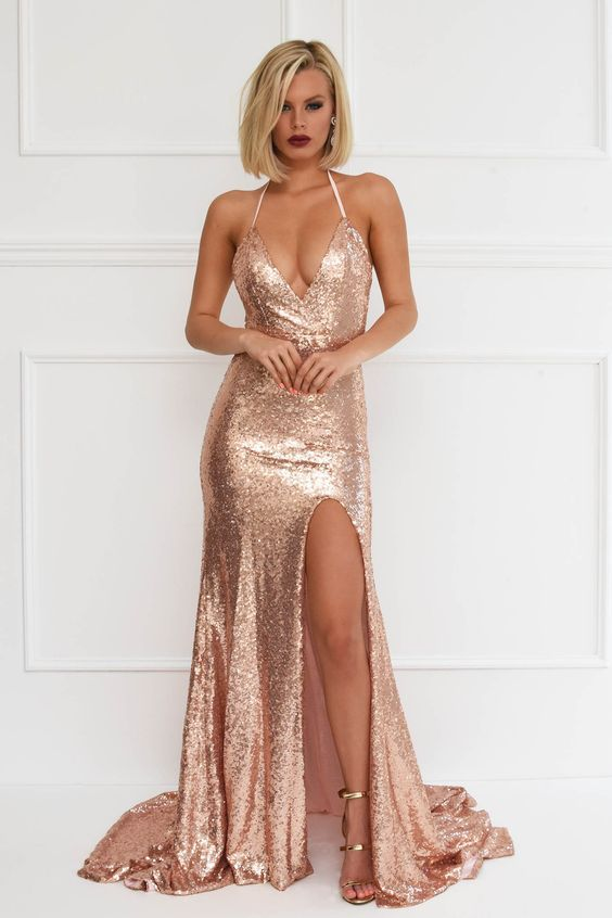 acf630c530353 Rose gold sequin evening formal mermaid gown with high front leg slit